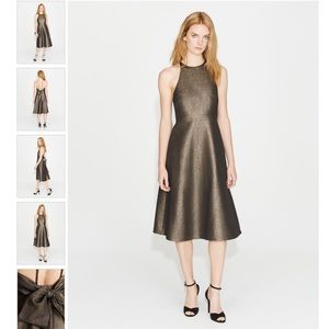 Halston Heritage Bow Back Metallic Jacquard Dress